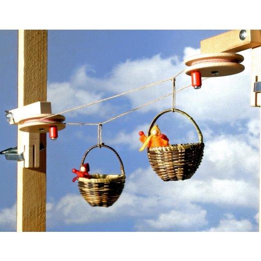 Kraul - 1240 - Körbchen Seilbahn Grundkasten mit 10m Seil und 2 gr. Körbchen