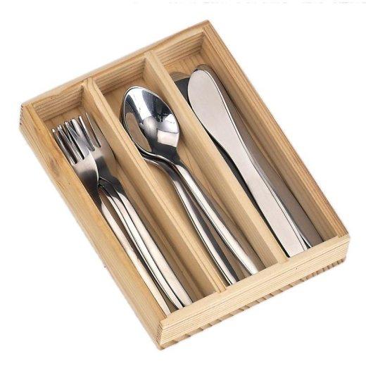 NIC - 522042 - Besteck Edelstahl, 12-tlg. im Holzkästchen für die Kinderküche
